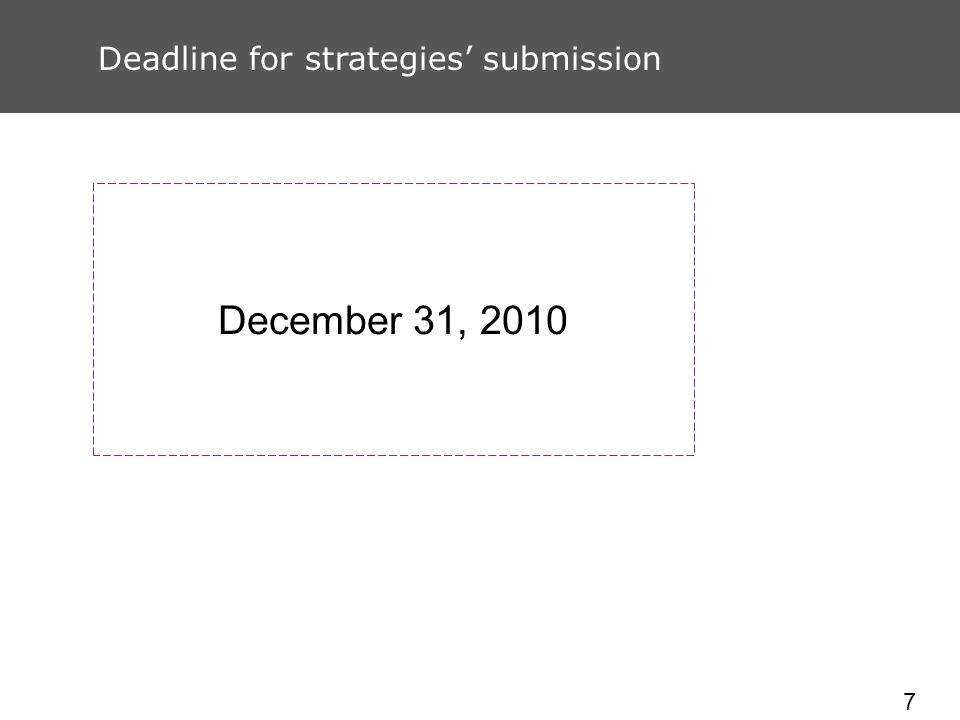 7 Deadline for strategies submission December 31, 2010
