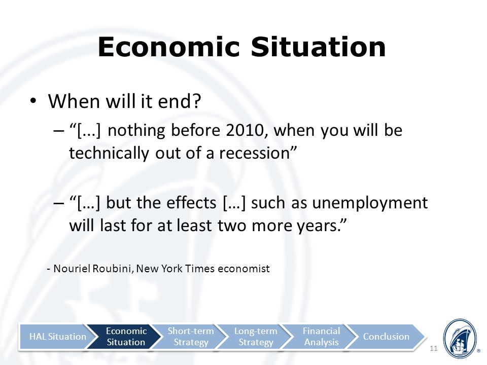 Economic Situation When will it end.