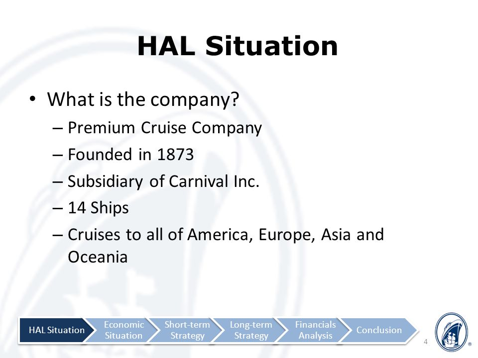 ProductPricePlacePromotion Physical Layou Provision of Customer Service Processes 7-Ps 25 Experience of Personalized Cabin Shows Theme Cruises Product HAL Situation Economic Situation Short-term Strategy Long-term Strategy Financial Analysis Conclusion