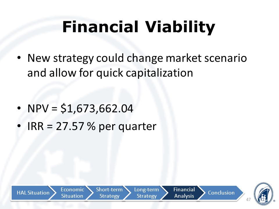 Financial Viability 47 New strategy could change market scenario and allow for quick capitalization NPV = $1,673,662.04 IRR = 27.57 % per quarter HAL Situation Economic Situation Short-term Strategy Long-term Strategy Financial Analysis Conclusion