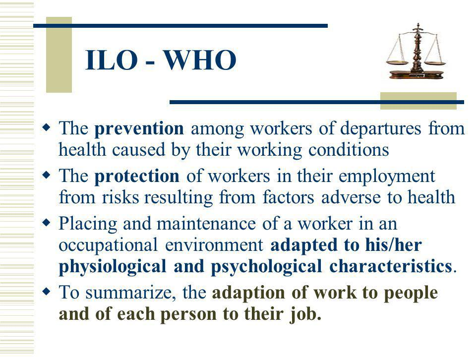 The prevention among workers of departures from health caused by their working conditions The protection of workers in their employment from risks res