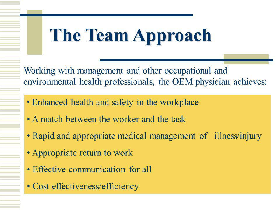 The Team Approach Enhanced health and safety in the workplace A match between the worker and the task Rapid and appropriate medical management of illness/injury Appropriate return to work Effective communication for all Cost effectiveness/efficiency Working with management and other occupational and environmental health professionals, the OEM physician achieves: