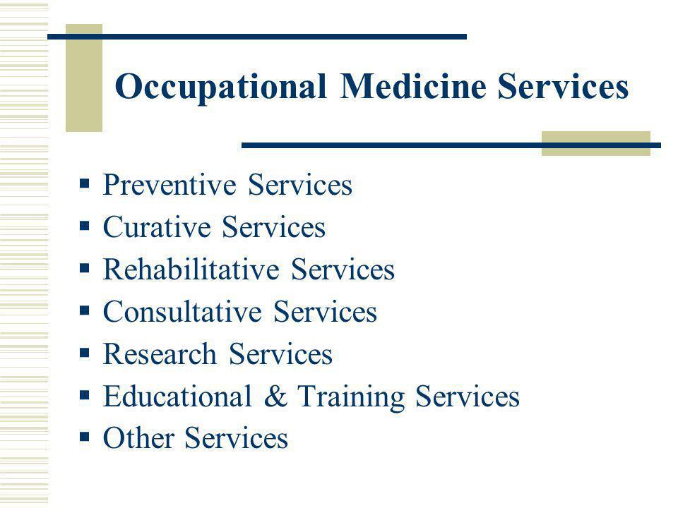 Occupational Medicine Services Preventive Services Curative Services Rehabilitative Services Consultative Services Research Services Educational & Tra