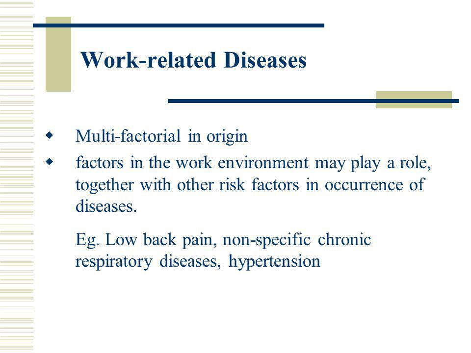 Work-related Diseases Multi-factorial in origin factors in the work environment may play a role, together with other risk factors in occurrence of dis