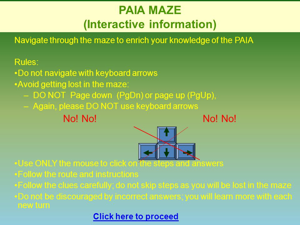 PAIA MAZE (Interactive information) Navigate through the maze to enrich your knowledge of the PAIA Rules: Do not navigate with keyboard arrows Avoid getting lost in the maze: –DO NOT Page down (PgDn) or page up (PgUp),DO NOT Page down (PgDn) or page up (PgUp), –Again, please DO NOT use keyboard arrowsAgain, please DO NOT use keyboard arrows No.