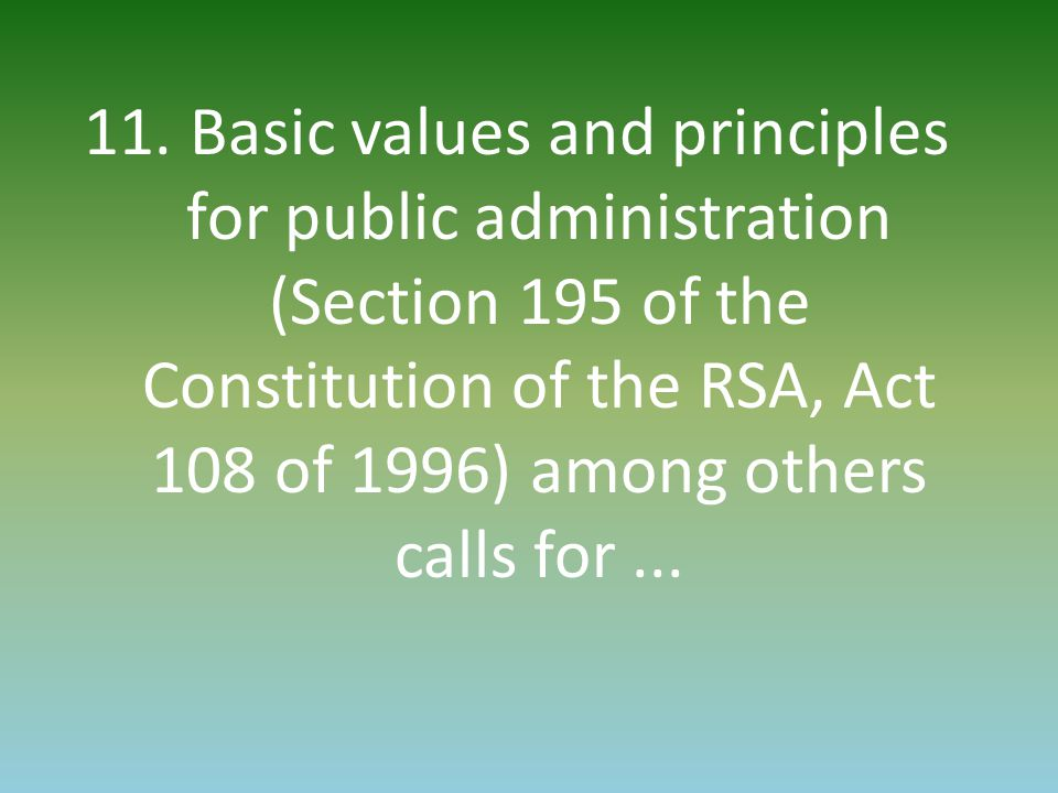 11. Basic values and principles for public administration (Section 195 of the Constitution of the RSA, Act 108 of 1996) among others calls for...