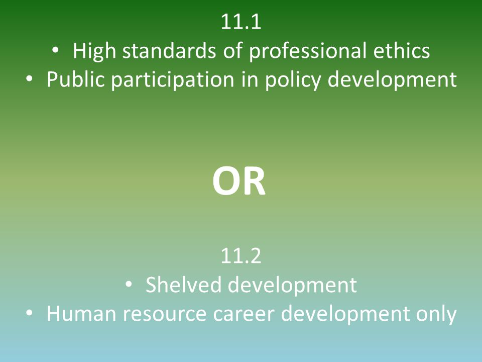 11.1 High standards of professional ethics Public participation in policy development OR 11.2 Shelved development Human resource career development on