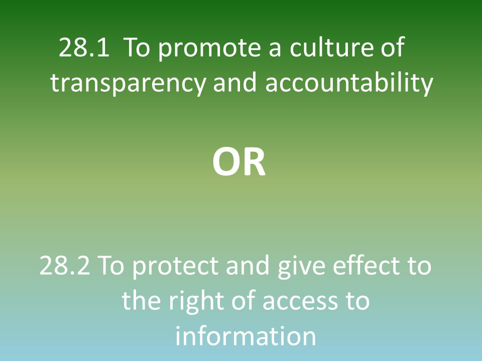 28.1 To promote a culture of transparency and accountability OR 28.2 To protect and give effect to the right of access to information