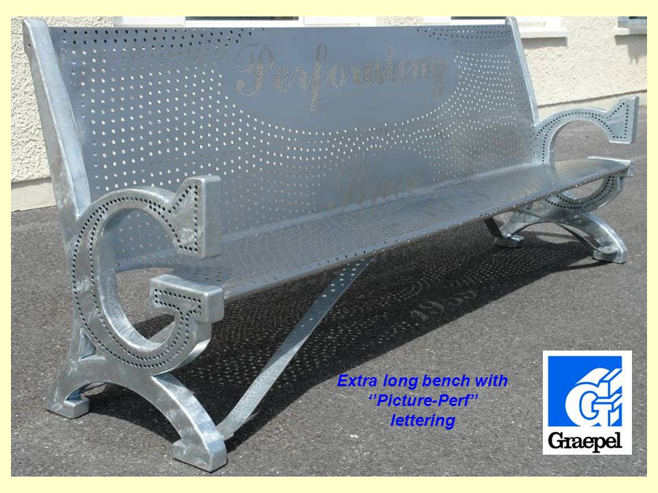 Extra long bench with Picture-Perf lettering