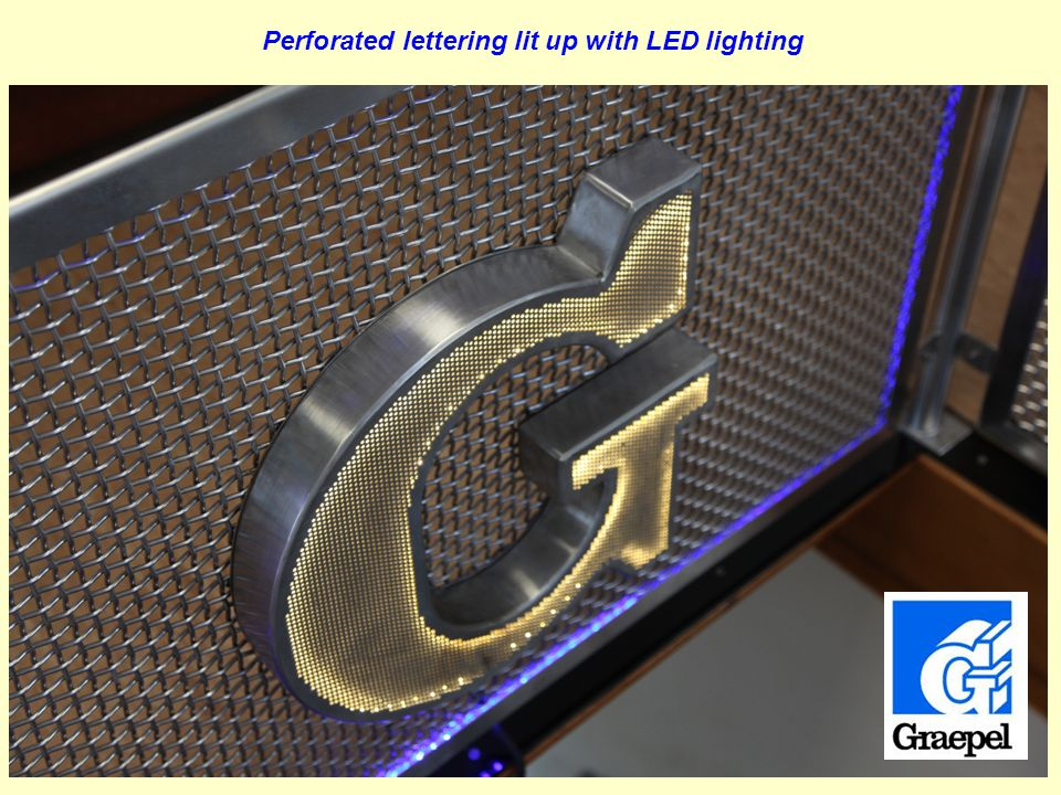 Perforated lettering lit up with LED lighting