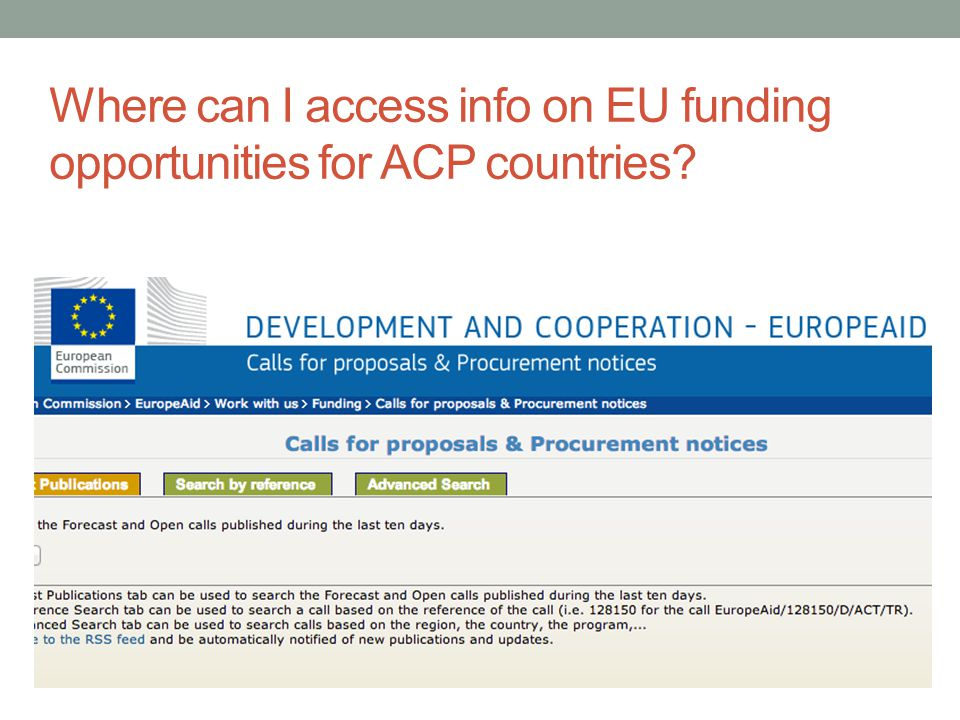 Where can I access info on EU funding opportunities for ACP countries?