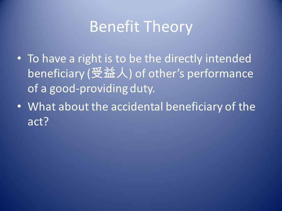 Choice Theory To have a right is to be in a justified position to determine by ones choice how others will act.