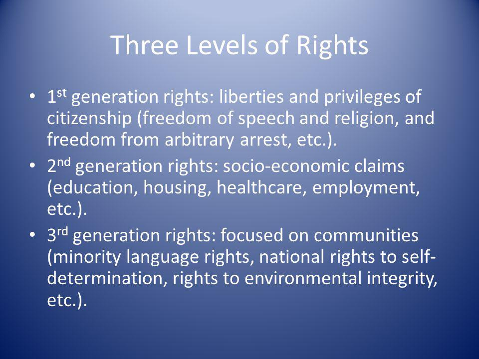 Three Levels of Rights 1 st generation rights: liberties and privileges of citizenship (freedom of speech and religion, and freedom from arbitrary arr