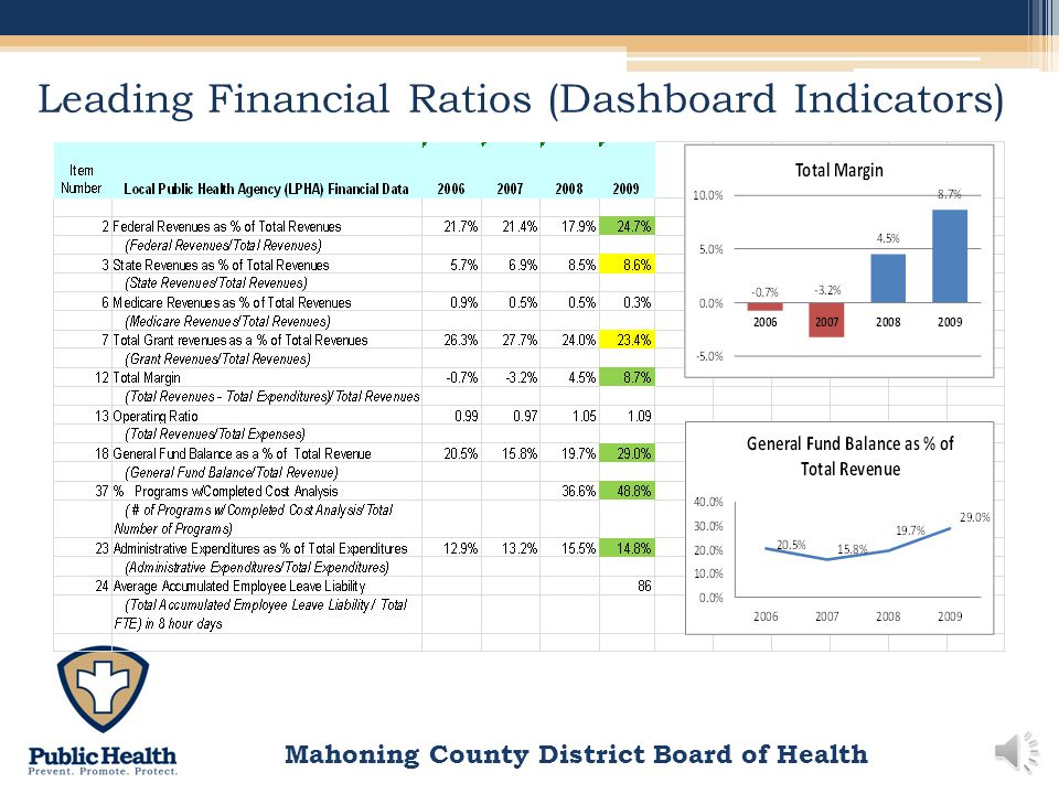 Mahoning County District Board of Health Financial Ratio Trends 2006-2009 Total Margin is calculated by subtracting total revenues from total expendit