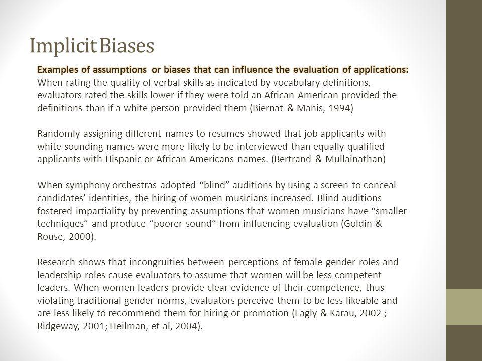 Implicit Biases