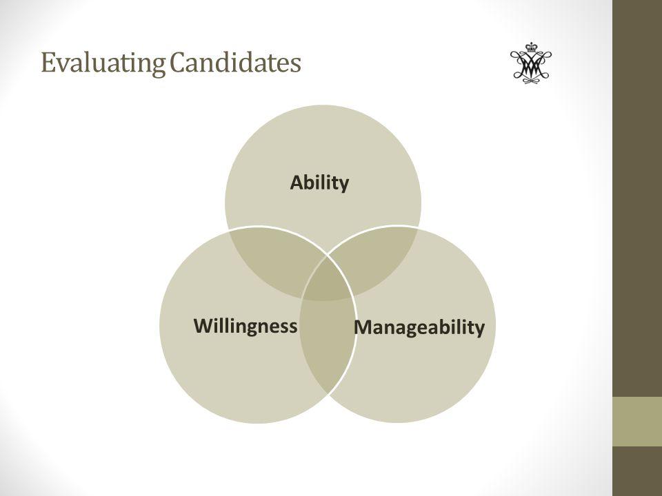Evaluating Candidates Ability Willingness Manageability