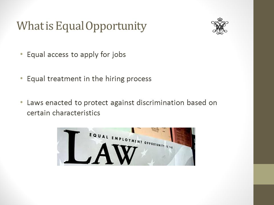 What is Equal Opportunity Equal access to apply for jobs Equal treatment in the hiring process Laws enacted to protect against discrimination based on
