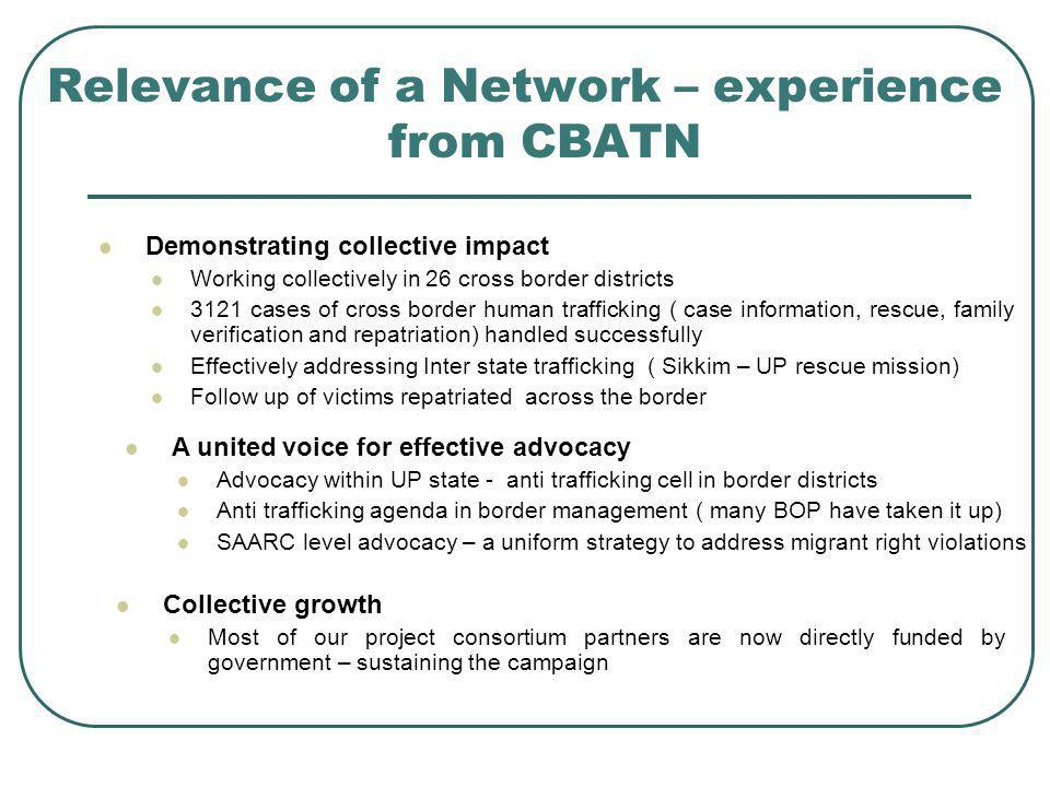 Relevance of a Network – experience from CBATN Demonstrating collective impact Working collectively in 26 cross border districts 3121 cases of cross b