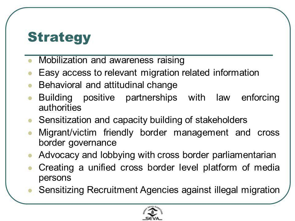 Strategy Mobilization and awareness raising Easy access to relevant migration related information Behavioral and attitudinal change Building positive
