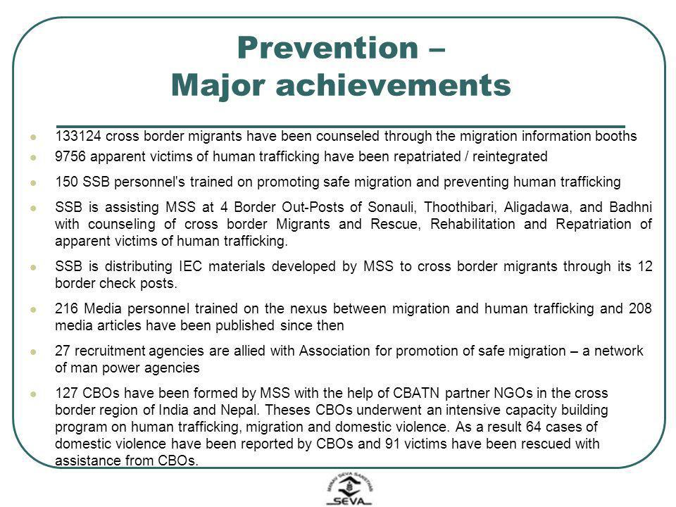 Prevention – Major achievements 133124 cross border migrants have been counseled through the migration information booths 9756 apparent victims of hum