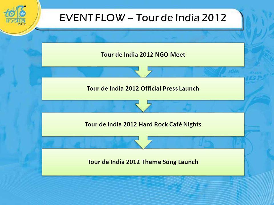 EVENT FLOW – Tour de India 2012 Tour de India 2012 Theme Song Launch Tour de India 2012 Hard Rock Café Nights Tour de India 2012 NGO Meet Tour de India 2012 Official Press Launch