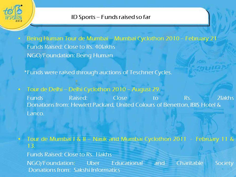 ID Sports – Funds raised so far Being Human Tour de Mumbai – Mumbai Cyclothon 2010 – February 21 Funds Raised: Close to Rs.