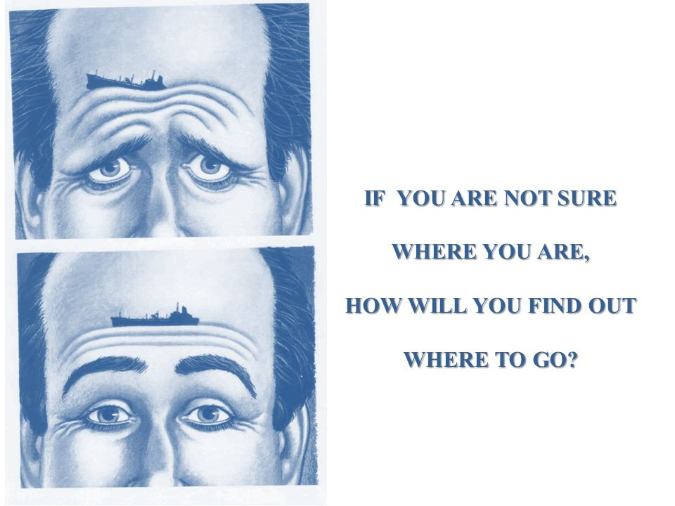 IF YOU ARE NOT SURE WHERE YOU ARE, HOW WILL YOU FIND OUT WHERE TO GO?