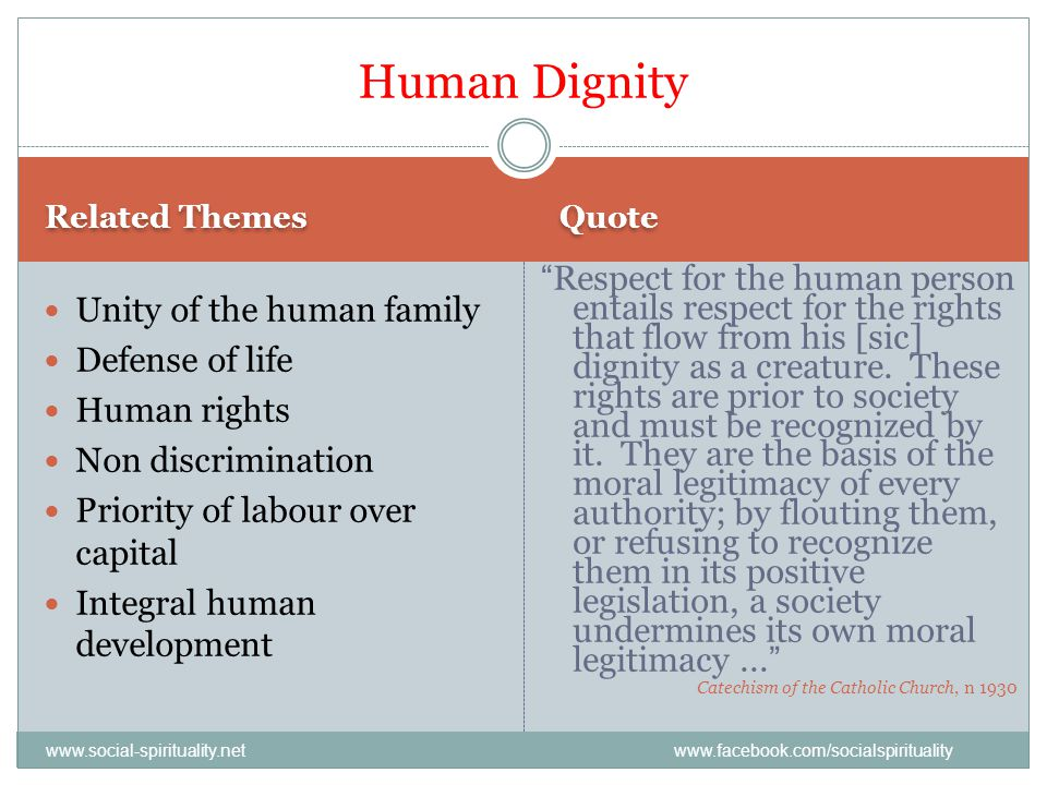Related Themes Quote Unity of the human family Defense of life Human rights Non discrimination Priority of labour over capital Integral human developm