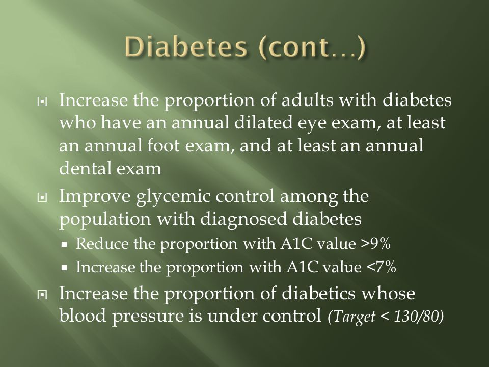 Increase the proportion of adults with diabetes who have an annual dilated eye exam, at least an annual foot exam, and at least an annual dental exam Improve glycemic control among the population with diagnosed diabetes Reduce the proportion with A1C value >9% Increase the proportion with A1C value <7% Increase the proportion of diabetics whose blood pressure is under control (Target < 130/80)