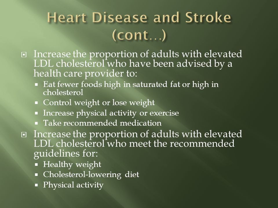Increase the proportion of adults with elevated LDL cholesterol who have been advised by a health care provider to: Eat fewer foods high in saturated fat or high in cholesterol Control weight or lose weight Increase physical activity or exercise Take recommended medication Increase the proportion of adults with elevated LDL cholesterol who meet the recommended guidelines for: Healthy weight Cholesterol-lowering diet Physical activity
