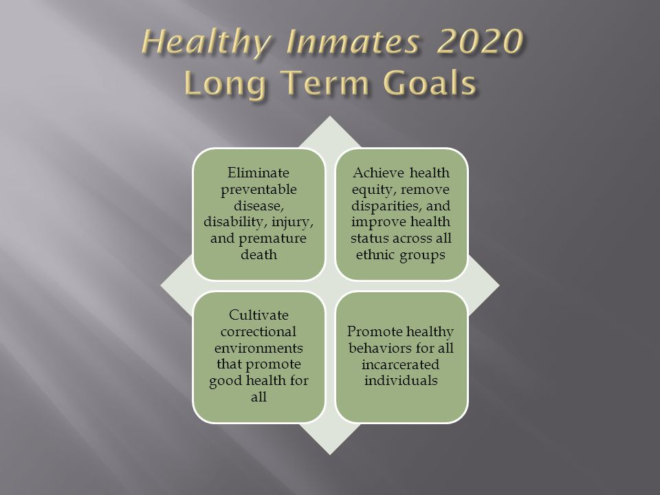 Eliminate preventable disease, disability, injury, and premature death Achieve health equity, remove disparities, and improve health status across all ethnic groups Cultivate correctional environments that promote good health for all Promote healthy behaviors for all incarcerated individuals