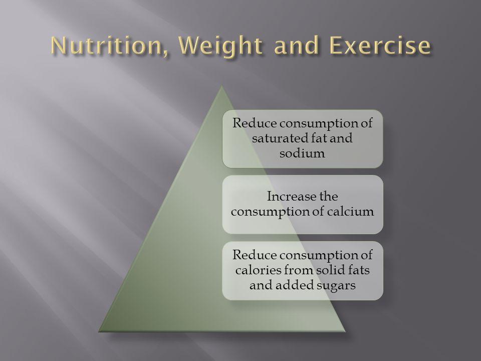 Reduce consumption of saturated fat and sodium Increase the consumption of calcium Reduce consumption of calories from solid fats and added sugars
