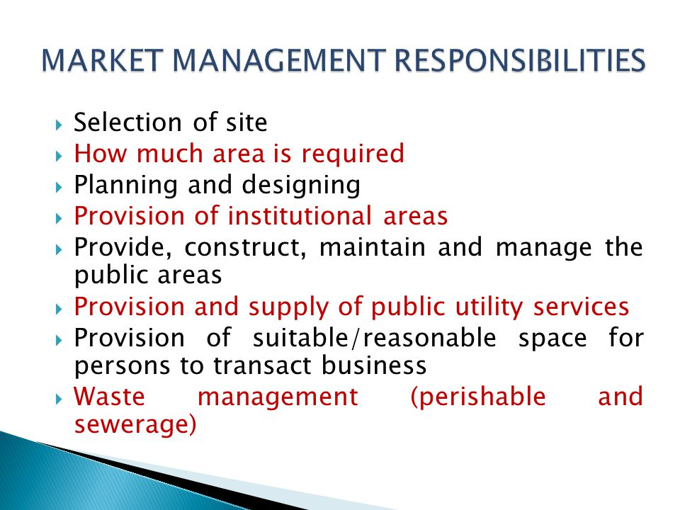Selection of site How much area is required Planning and designing Provision of institutional areas Provide, construct, maintain and manage the public