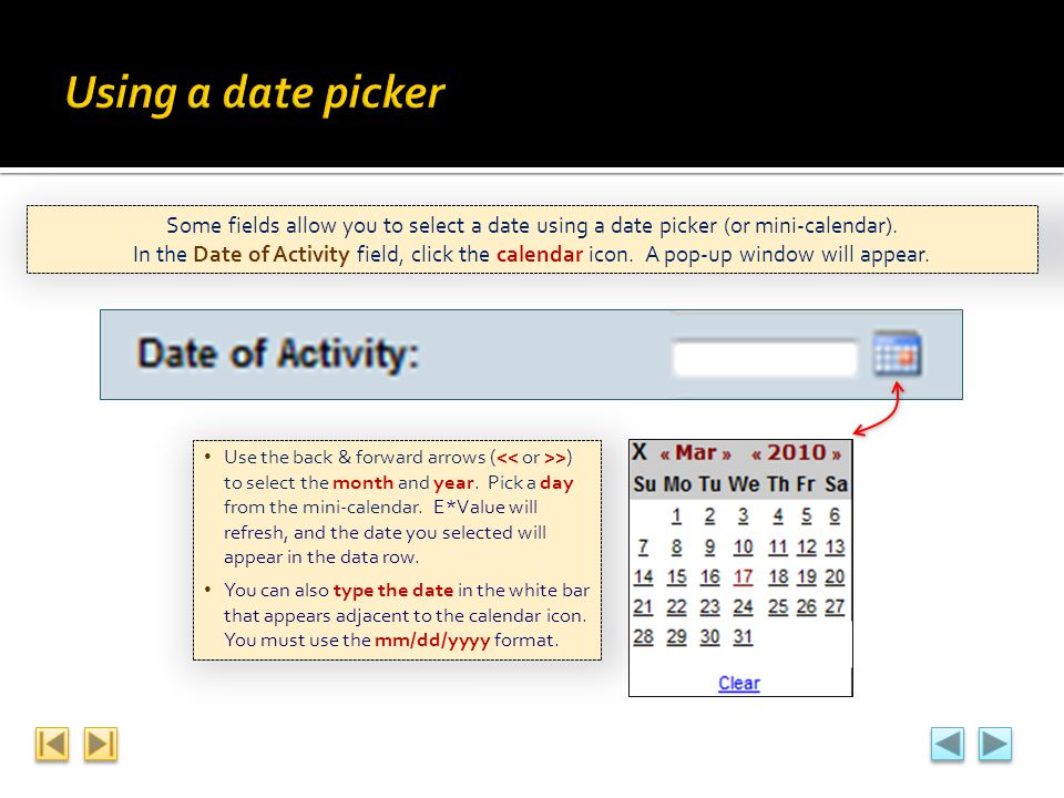 Some fields allow you to select a date using a date picker (or mini-calendar). In the Date of Activity field, click the calendar icon. A pop-up window