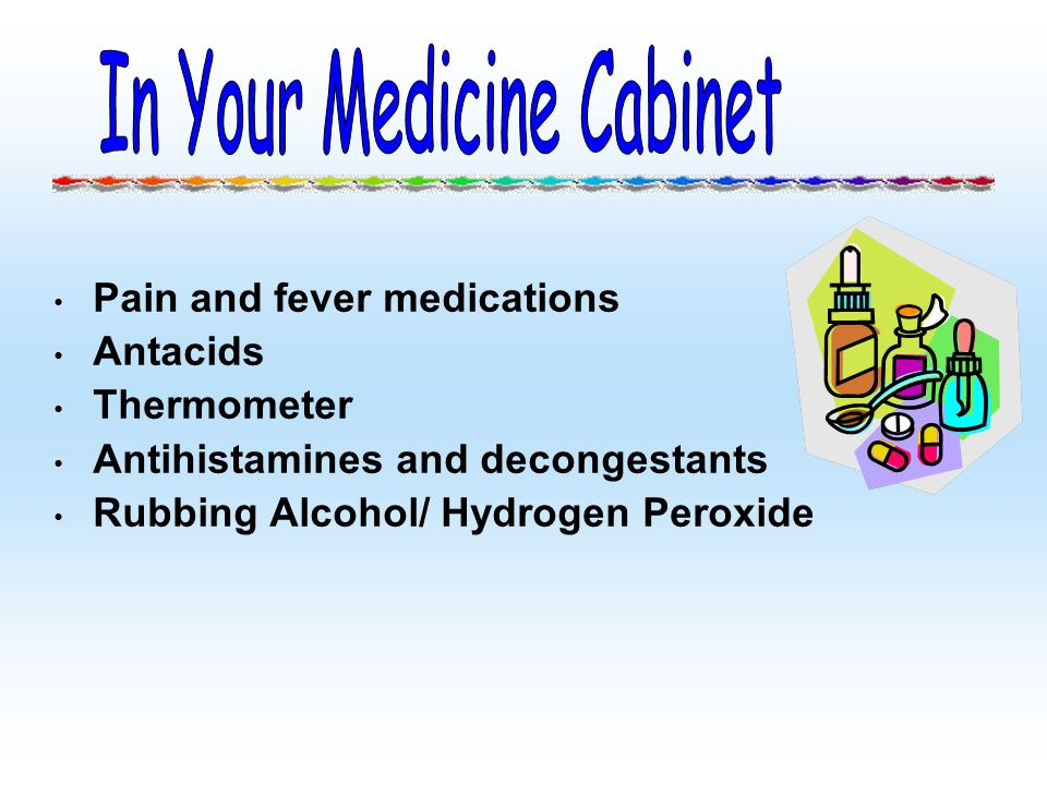Pain and fever medications Antacids Thermometer Antihistamines and decongestants Rubbing Alcohol/ Hydrogen Peroxide