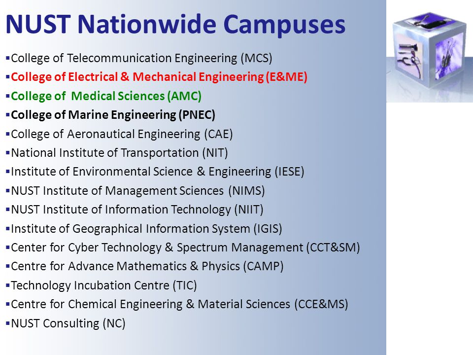 NUST Nationwide Campuses College of Telecommunication Engineering (MCS) College of Electrical & Mechanical Engineering (E&ME) College of Medical Scien