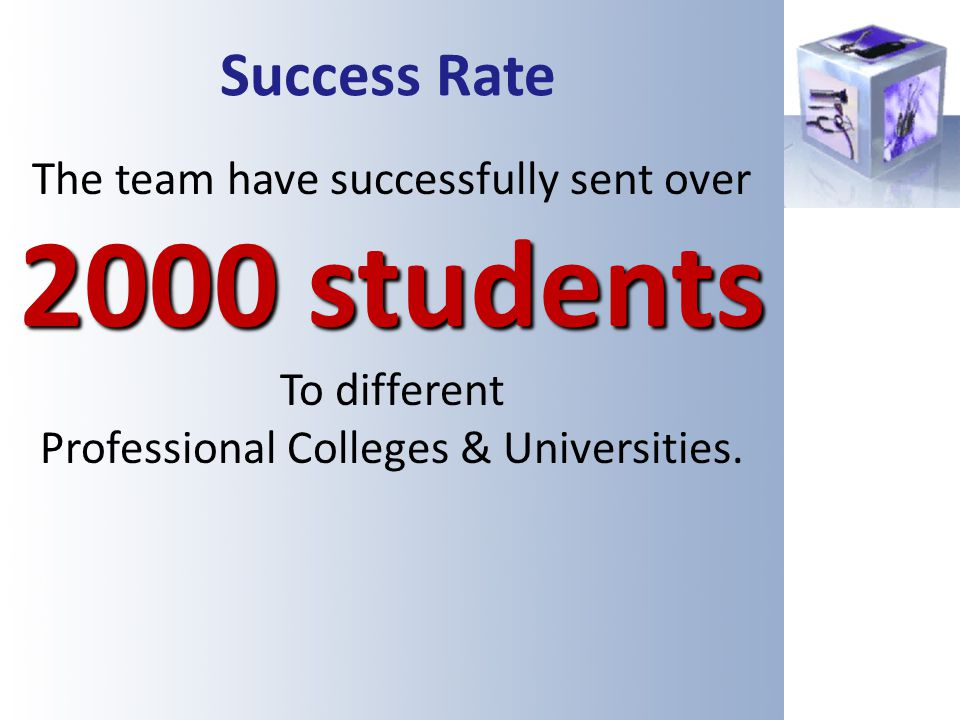 Success Rate The team have successfully sent over 2000 students To different Professional Colleges & Universities.