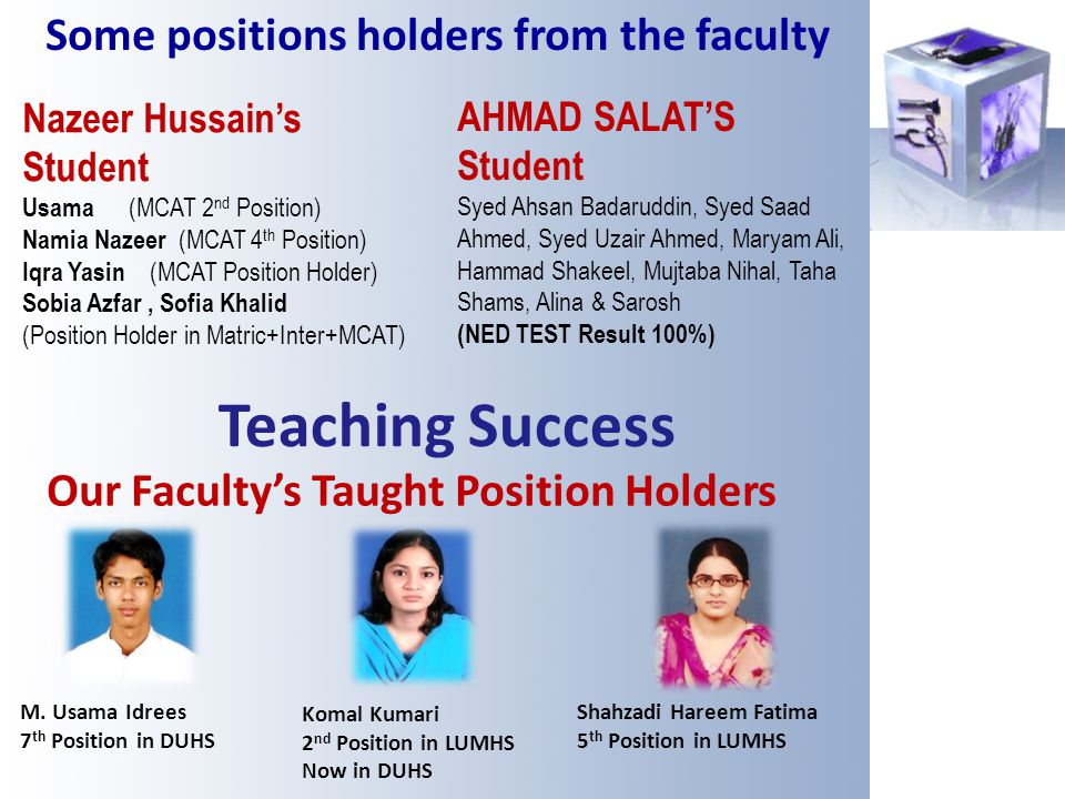 Teaching Success M. Usama Idrees 7 th Position in DUHS Komal Kumari 2 nd Position in LUMHS Now in DUHS Our Facultys Taught Position Holders Shahzadi H