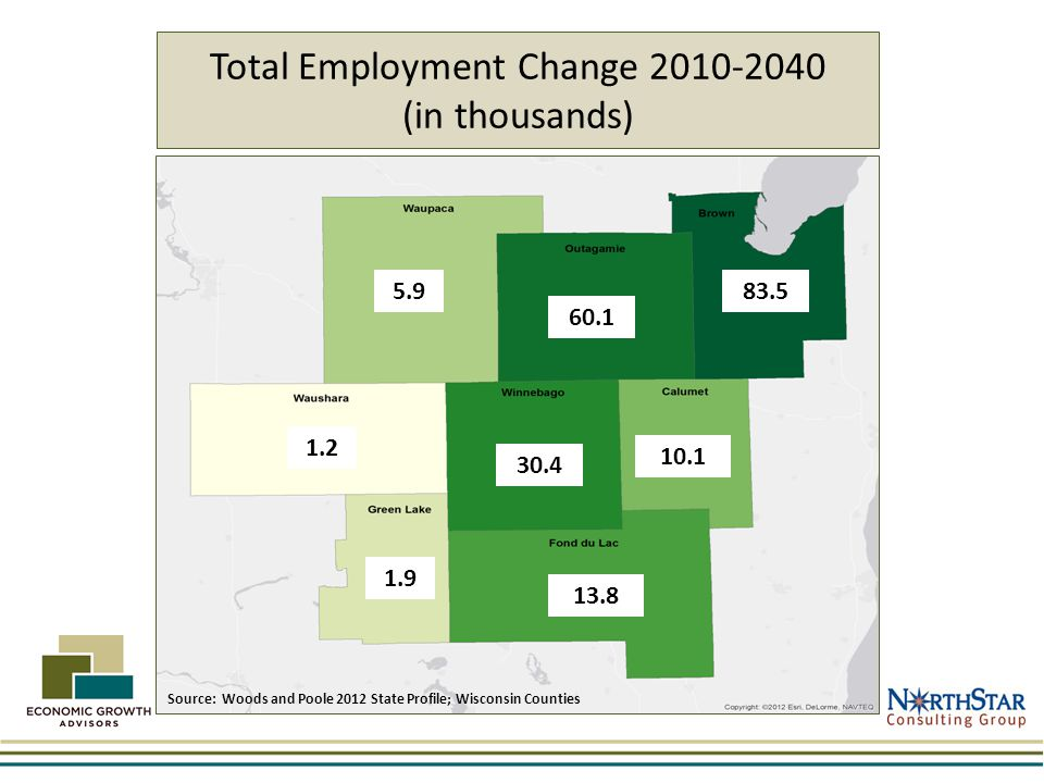 Total Employment Change 2010-2040 (in thousands) 60.1 5.983.5 1.2 1.9 30.4 10.1 13.8 Source: Woods and Poole 2012 State Profile; Wisconsin Counties