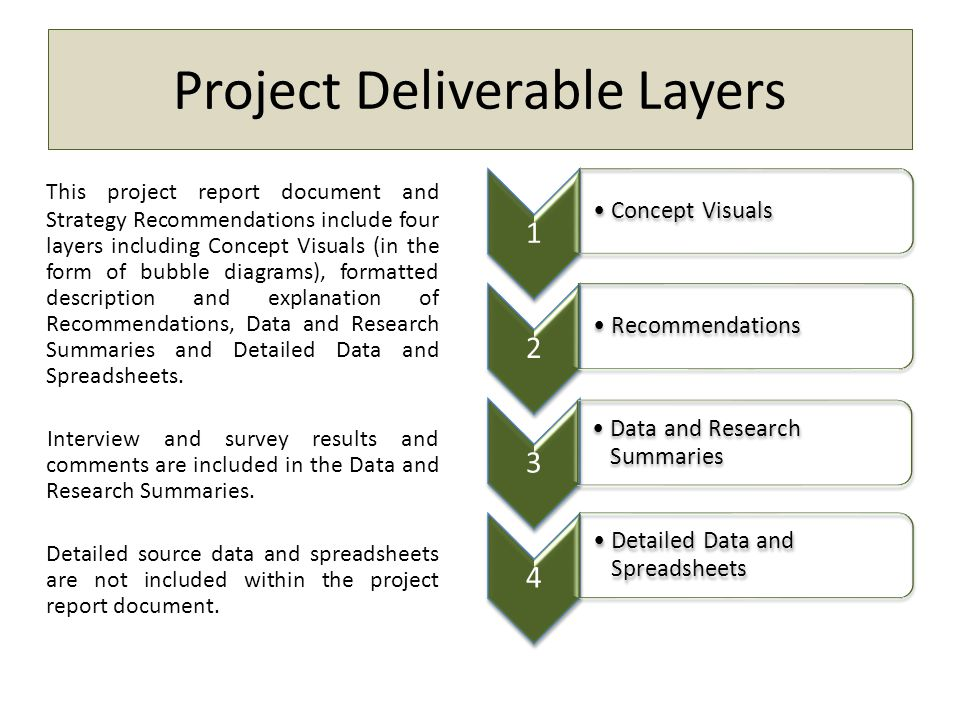 Project Deliverable Layers This project report document and Strategy Recommendations include four layers including Concept Visuals (in the form of bub