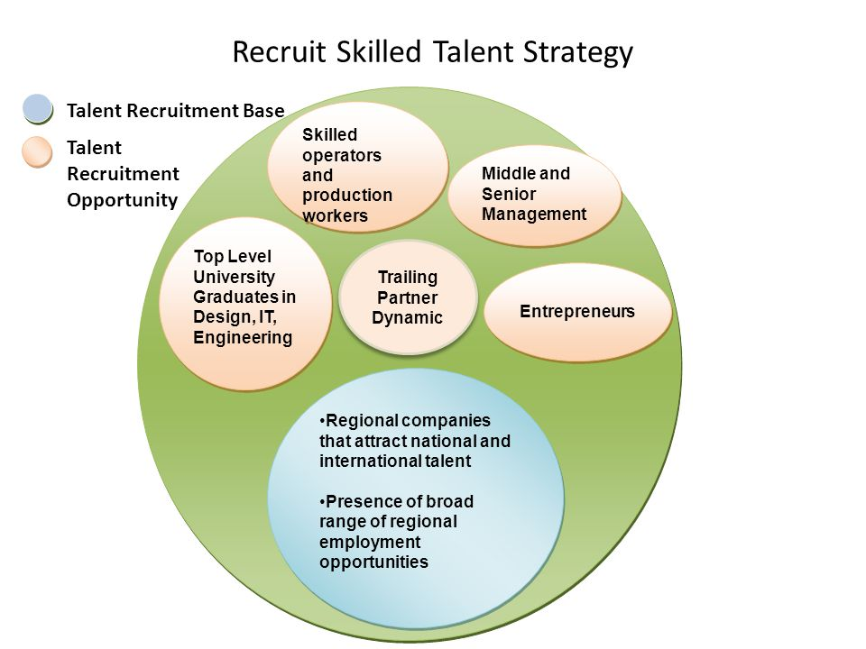 Recruit Skilled Talent Strategy Middle and Senior Management Entrepreneurs Top Level University Graduates in Design, IT, Engineering Skilled operators and production workers Regional companies that attract national and international talent Presence of broad range of regional employment opportunities Regional companies that attract national and international talent Presence of broad range of regional employment opportunities Talent Recruitment Base Talent Recruitment Opportunity Trailing Partner Dynamic