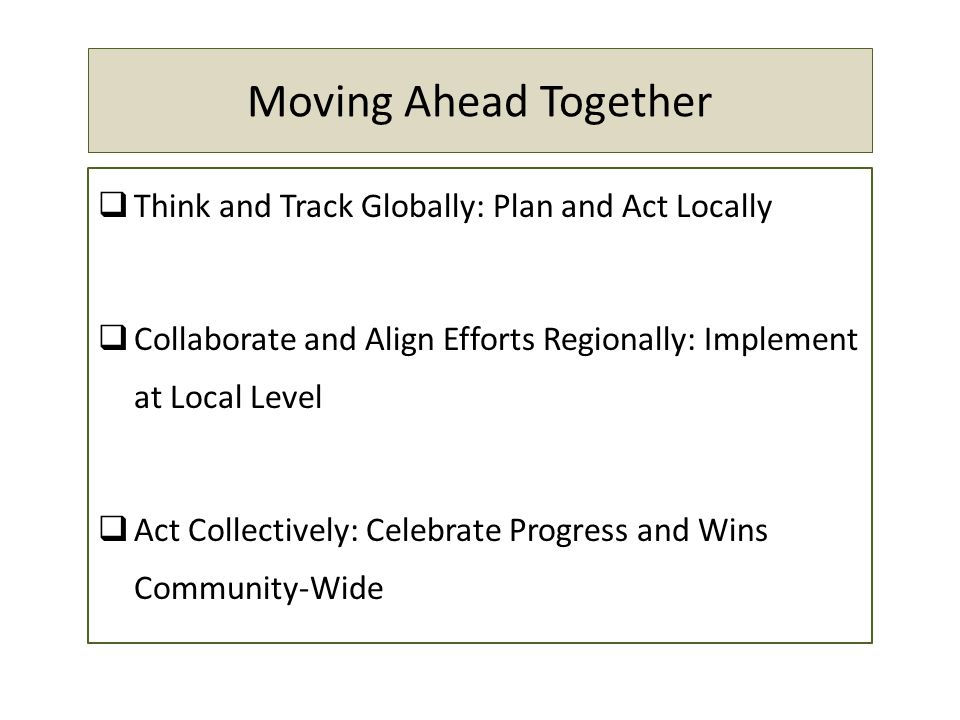 Moving Ahead Together Think and Track Globally: Plan and Act Locally Collaborate and Align Efforts Regionally: Implement at Local Level Act Collectively: Celebrate Progress and Wins Community-Wide
