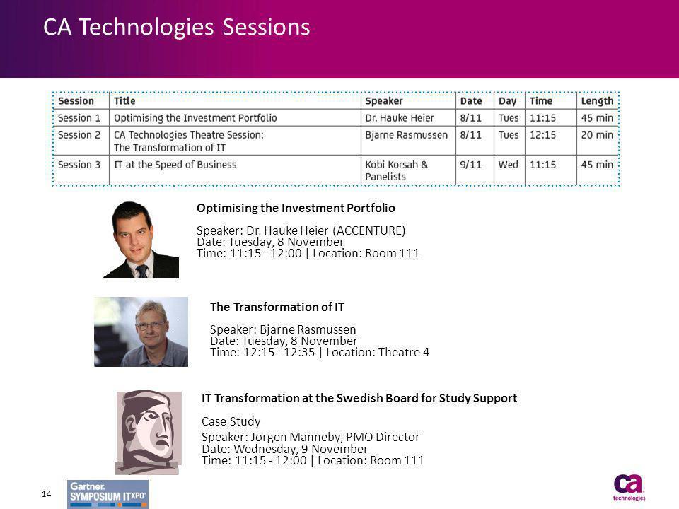 CA Technologies Sessions 14 Optimising the Investment Portfolio Speaker: Dr. Hauke Heier (ACCENTURE) Date: Tuesday, 8 November Time: 11:15 - 12:00 | L