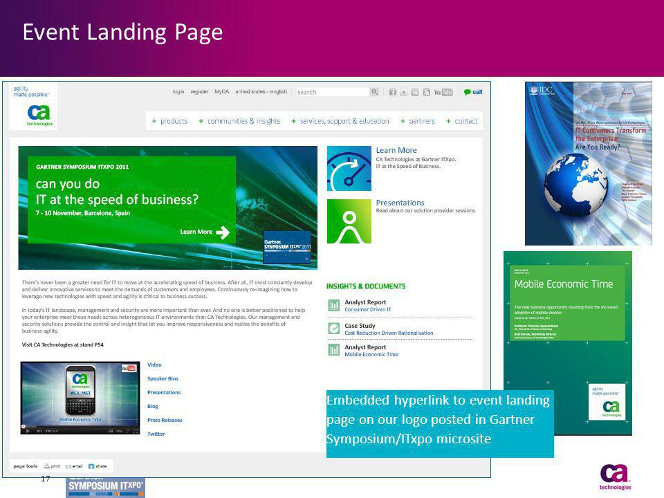 Event Landing Page Embedded hyperlink to event landing page on our logo posted in Gartner Symposium/ITxpo microsite 17