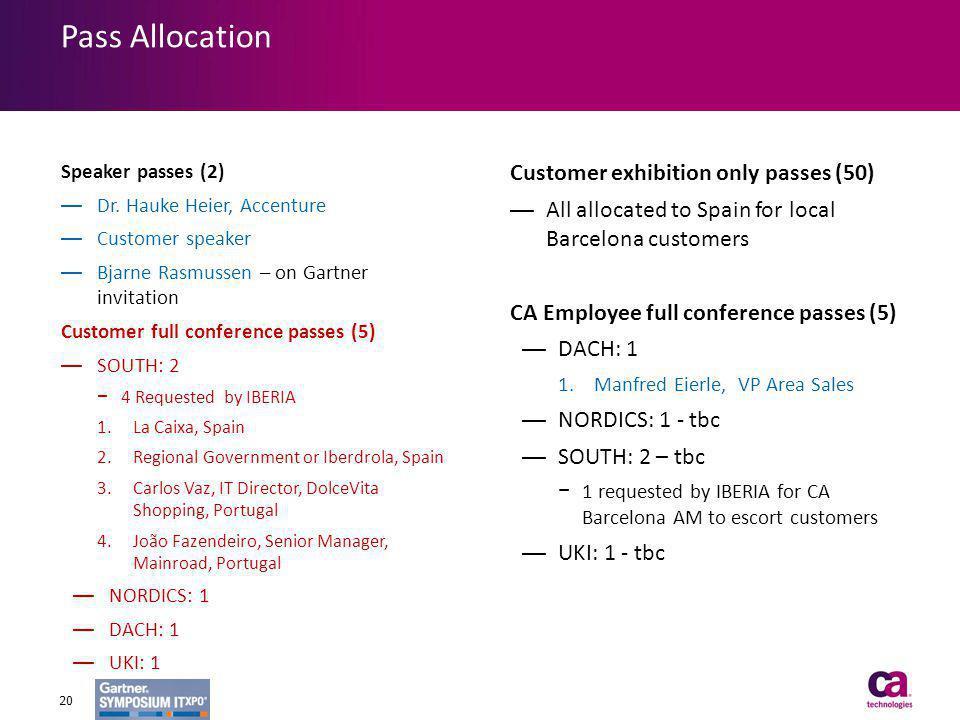 Pass Allocation Speaker passes (2) Dr. Hauke Heier, Accenture Customer speaker Bjarne Rasmussen – on Gartner invitation Customer full conference passe