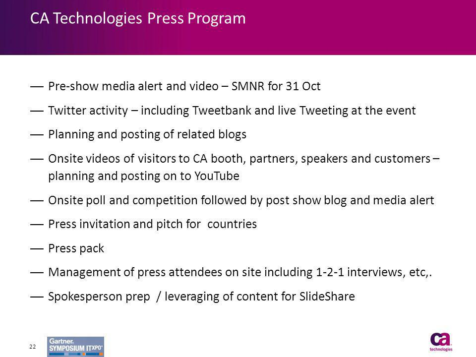 Pre-show media alert and video – SMNR for 31 Oct Twitter activity – including Tweetbank and live Tweeting at the event Planning and posting of related