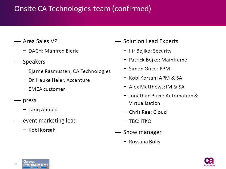Onsite CA Technologies team (confirmed) Area Sales VP DACH: Manfred Eierle Speakers Bjarne Rasmussen, CA Technologies Dr. Hauke Heier, Accenture EMEA