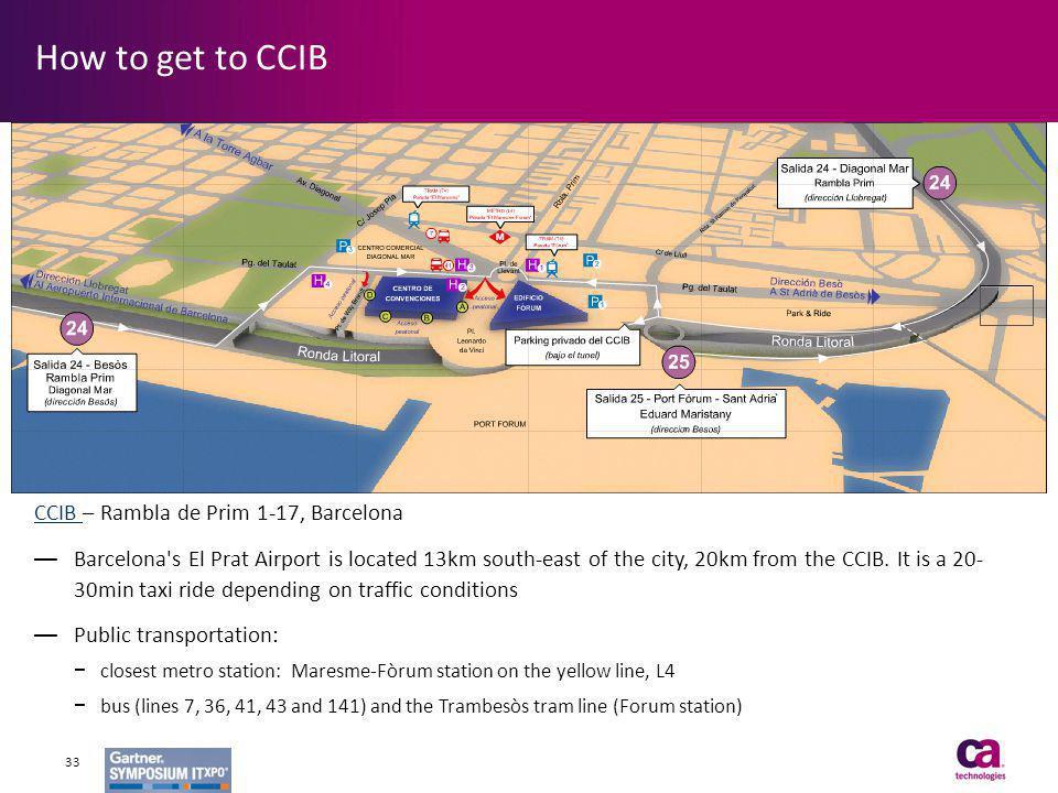 CCIB CCIB – Rambla de Prim 1-17, Barcelona Barcelona's El Prat Airport is located 13km south-east of the city, 20km from the CCIB. It is a 20- 30min t