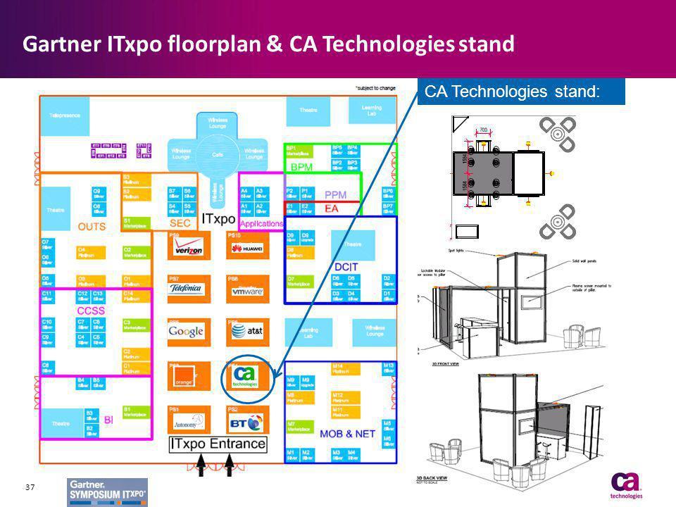 Gartner ITxpo floorplan & CA Technologies stand CA Technologies stand: PS4 37