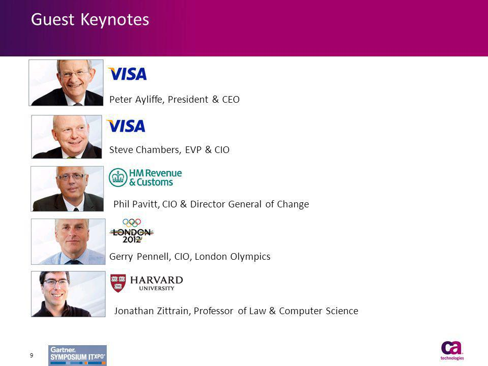 Guest Keynotes 9 Peter Ayliffe, President & CEO Steve Chambers, EVP & CIO Phil Pavitt, CIO & Director General of Change Gerry Pennell, CIO, London Oly